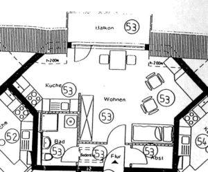 Grundriss erste Wohnung ETW3